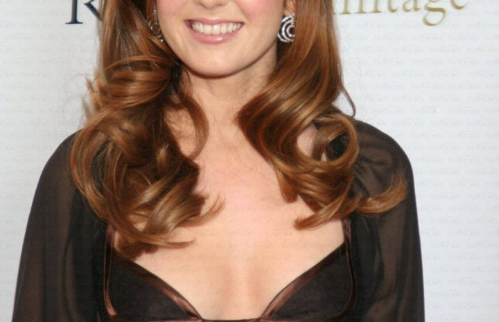 Redheaded Actress Isla Fisher Posing in a See-Through Dress