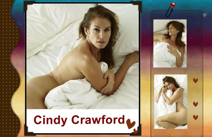 Naked Cindy Crawford Showing Her Mature Boobies in Bed (3 Photos)