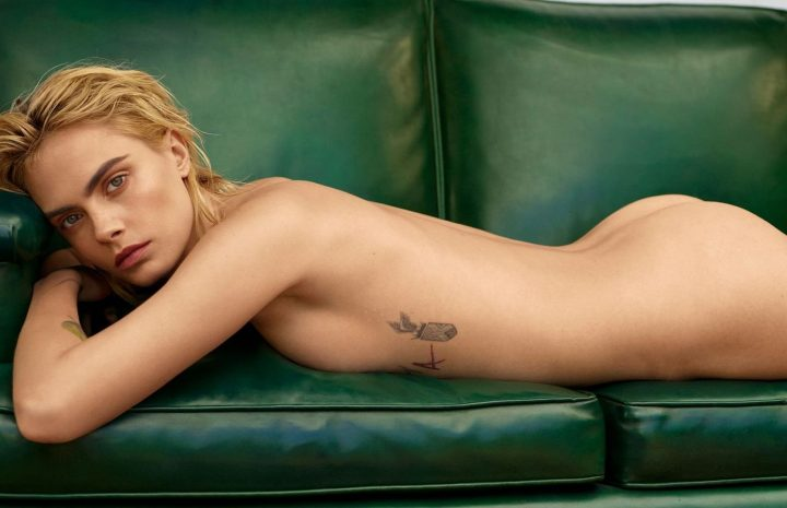 Naked Cara Delevingne Posing on the Pages of Marie Claire