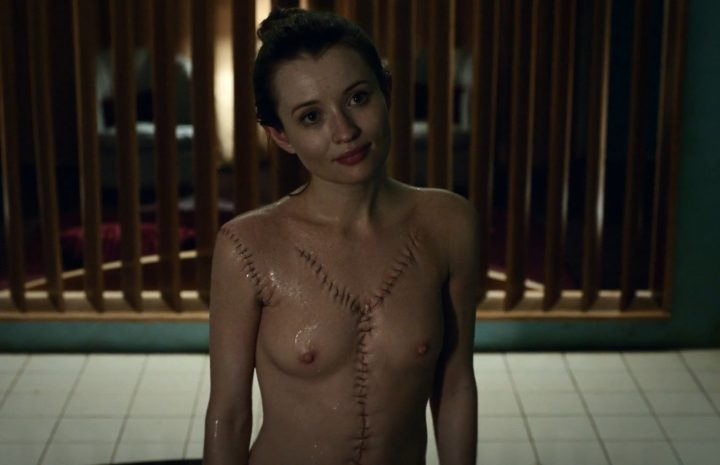 Skinny Seductress Emily Browning Bathing, Showing Her Wet Body