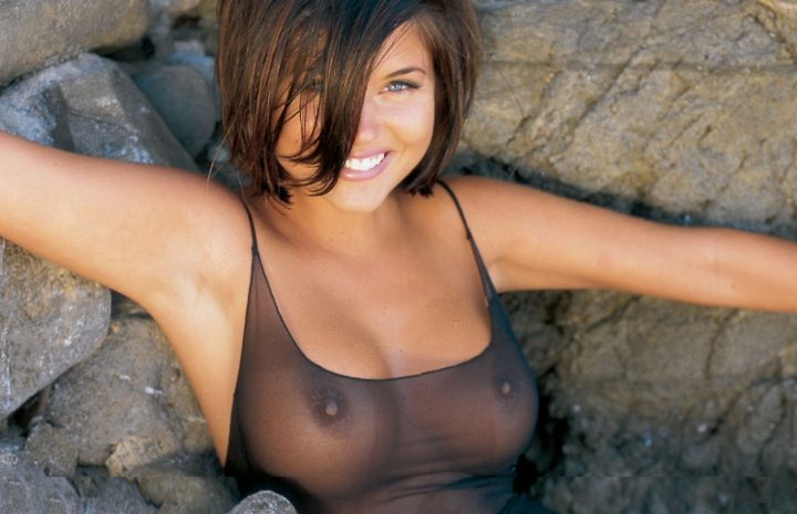 Young Tiffani Amber Thiessen Looks Amazing with Her Tits on Display