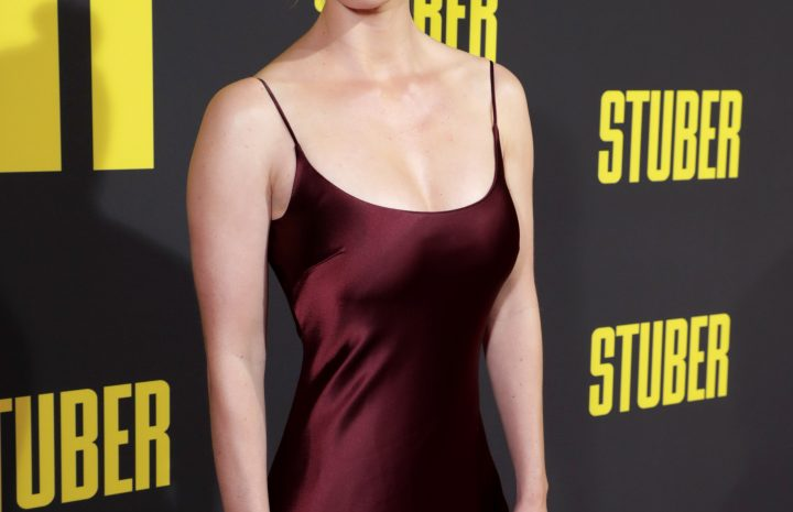 Stunning Blonde Betty Gilpin Showcasing Her Breasts in a Hot Dress