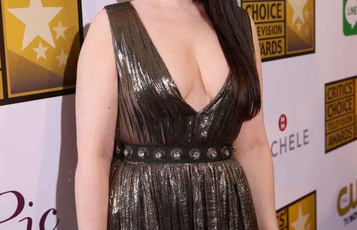 Beautiful Actress Michelle Trachtenberg Posing in a Cleavage-Baring Dress