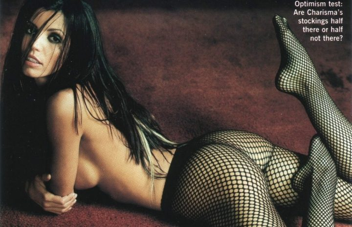 Fishnets-Wearing Charisma Carpenter Displaying Her Mostly Bare Butt