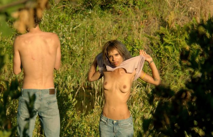Topless Zoë Kravitz Showing Her Perfect Boobs in a Grassy Field