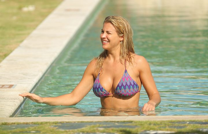 Gemma Atkinson Happily Showcasing Her Bikini Body While Wet and Hot AF