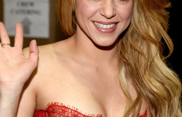 Blond-Haired Songstress Shakira Shows Her Ample Cleavage While on Stage