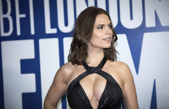Chesty Hayley Atwell Displaying Her Ample Assets in a Boob Window Dress