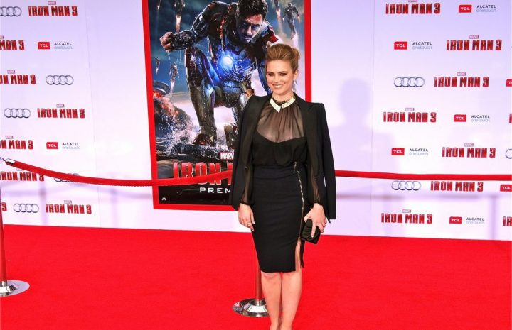Impeccable Hottie Hayley Atwell Shows Her Large Breasts in a Hot Outfit